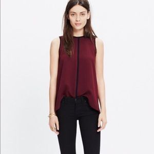 MADEWELL • Red Crepe Canal Tank Top